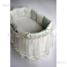 """Lappetti  """"Эстель"""", сатин, универсальный комплект с подушечками для овальной (прямоугольной) кроватки арт. 6034"""