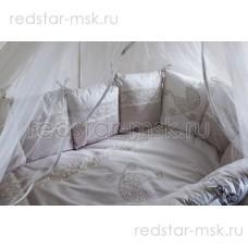 """Lappetti  """"Колясочка"""", универсальный комплект с подушечками для овальной (прямоугольной) кроватки, сатин, арт. 6039"""