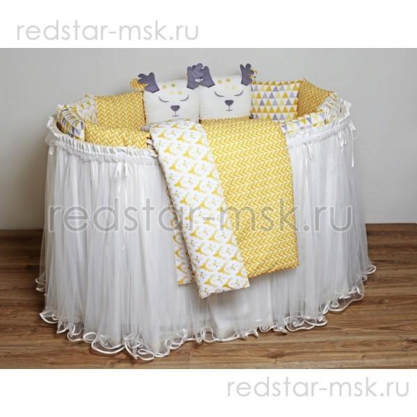 """Lappetti """"Скандинавия"""" комплект универсальный для прямоугольной и круглой (овальной) кроватки, поплин, цифровая печать."""
