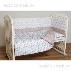 """Lappetti  """"Скандинавия"""" комплект для прямоугольной кроватки, поплин, цифровая печать."""