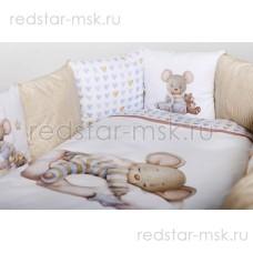 """Комплект  универсальный для круглой (овальной), """"Мышки на облачке"""" сатин  арт. 6075"""
