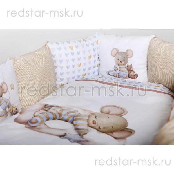 """Lappetti  """"Мышки на облачке""""  комплект  универсальный для круглой (овальной) , сатин  арт. 6075"""