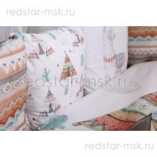 """Комплект  универсальный для круглой (овальной) кроватки, """"Ламы"""" сатин арт.6088"""