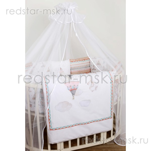 """Lappetti """"Ламы""""  комплект  универсальный для круглой (овальной) кроватки, сатин арт.6088"""