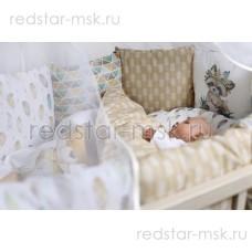 Комплект  универсальный для круглой (овальной) и прямоугольной кроватки, сатин  арт. 6090