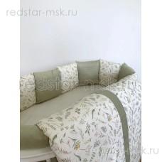 Комплект  универсальный для круглой (овальной) и прямоугольной кроватки, сатин  арт. 6092 - фисташковый