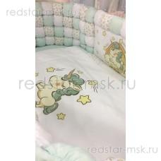 """Набор в кроватку 6 предметов """"Кубики Единорог мятный"""" 125*75 см."""