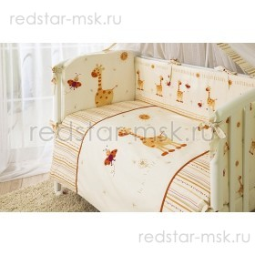 """Комплект в кроватку """"Кроха Жирафики"""" Perina 7 предметов"""