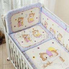 """Комплект в кроватку """"Ника"""" Perina 3 предмета, цвет - лиловый."""