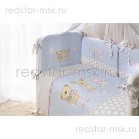 """Комплект в кроватку """"Венеция Лапушки Голубые"""" Perina 7 предметов"""