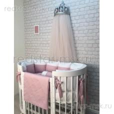 """Комплект MARELE """"Бело-розовая классика"""" для овальной кроватки"""