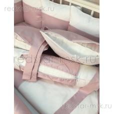 """Комплект MARELE """"Бело-розовая классика"""" для прямоугольной кроватки"""