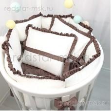 """MARELE Комплект  для овальной кроватки, коллекция """"Классика"""", цвет шоколад."""
